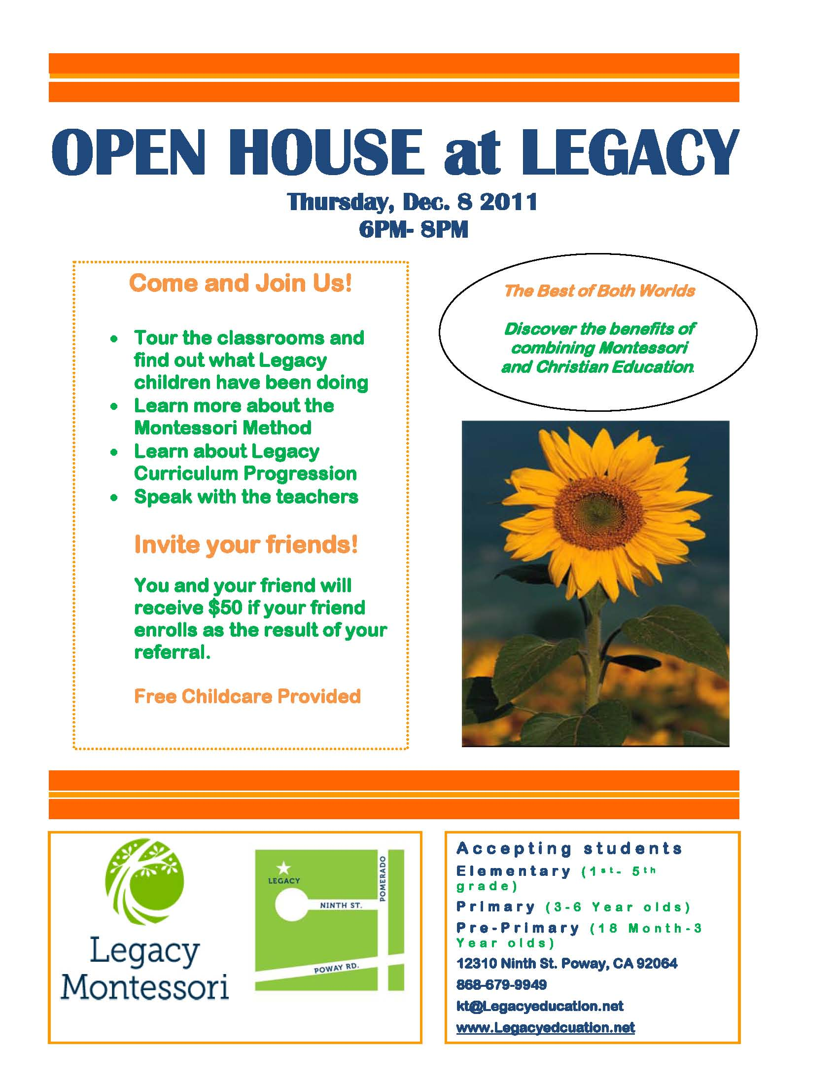 Legacy Montessori School Holds Open House December From - School open house flyer template free