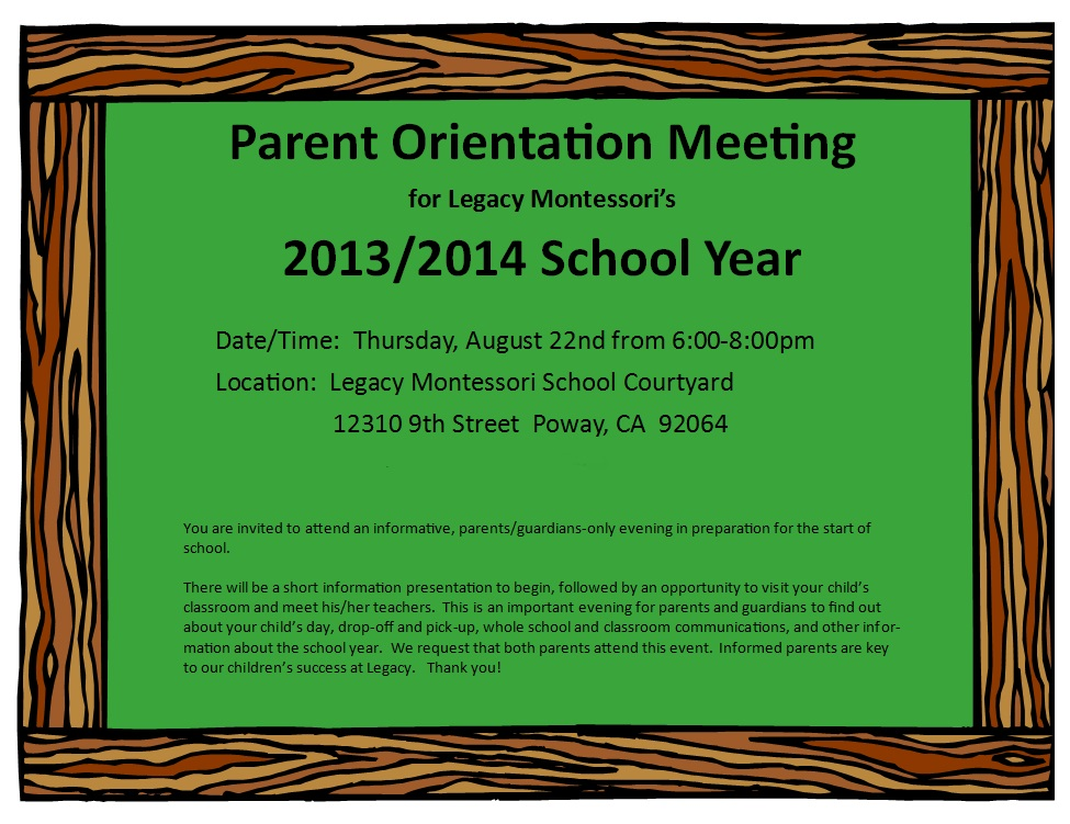 Parent Orientation Meeting 2013/2014 on Thursday August 22