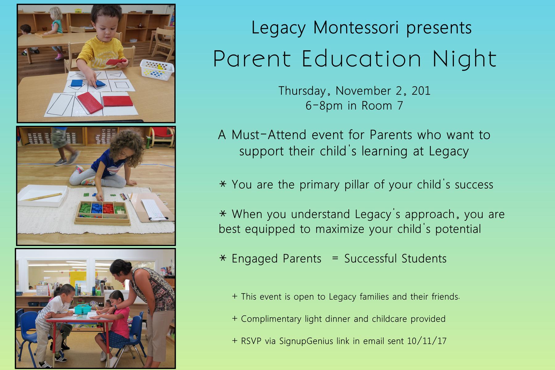 Free Parenting Classes Legacy Montessori School